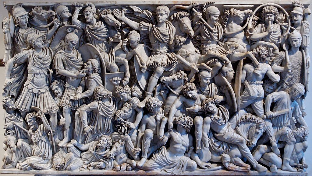 Ludovisi Battle sarcophagus showing a battle scene between Roman soldiers and Goths, cr. 250–260, Rome