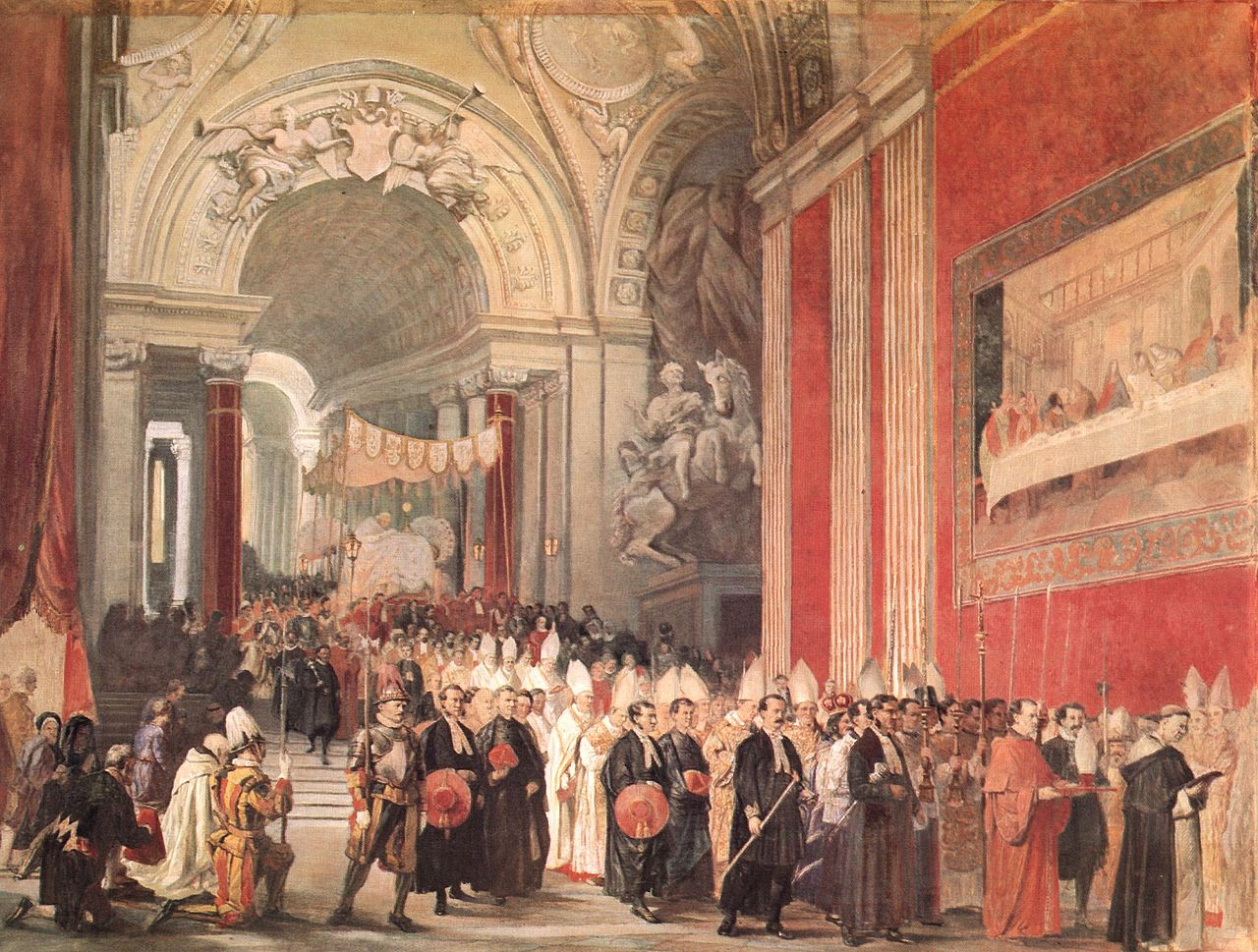 COMPARANDUM: Corpus Christi Procession with Pope Gregory XVI in the Vatican (with The Vision of Constantine on the background), 1840, Ferdinando Cavalleri