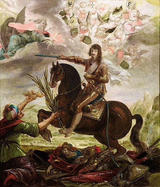 Equestrian portrait of victorious Louis XIII, 17th century, Claude Déruet (attributed to)
