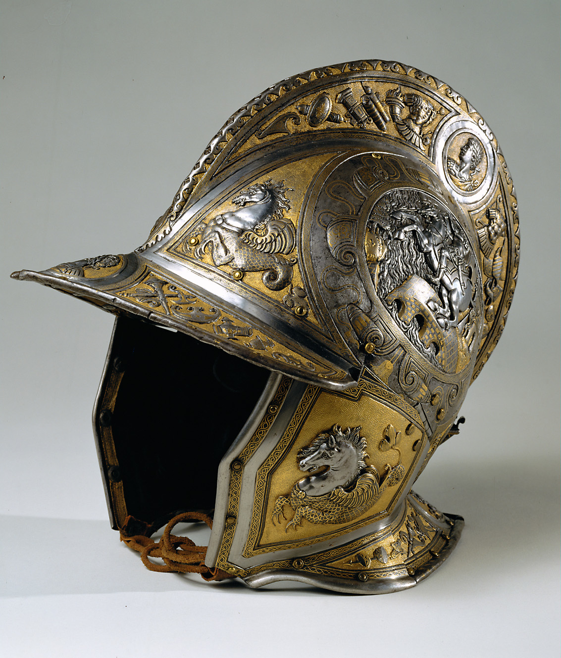 Balaclava with the depictions of Marcus Curtius and Horatius Cocles, 1560, Milan