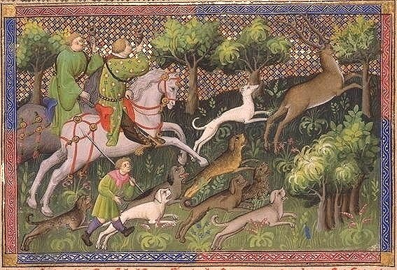 Hart-hunting with greyhounds and raches, illustration of The Hunting Book of Gaston Phebus, early 15th century, France