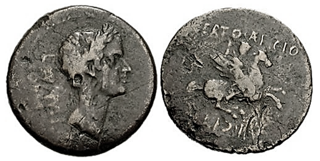 Bronze as with Julius Caesar and Bellerophon, 44-43 BC, Corinth, Roman culture
