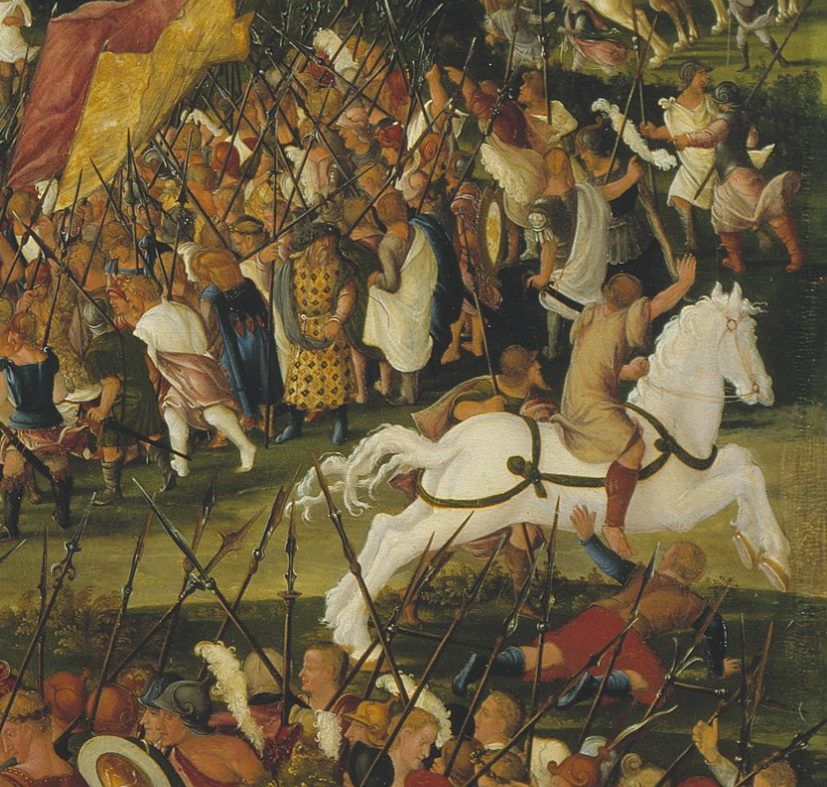 Horatius Cocles Stopping King Porsenna's Army outside Rome (detail), 1525-49, Ludwig Refinger, Bavaria, Germany
