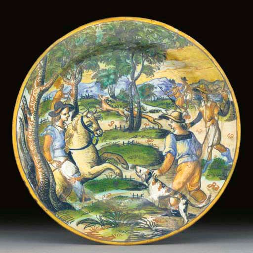 A maiolica plate showing a hunting scene, late 16th century, Urbino