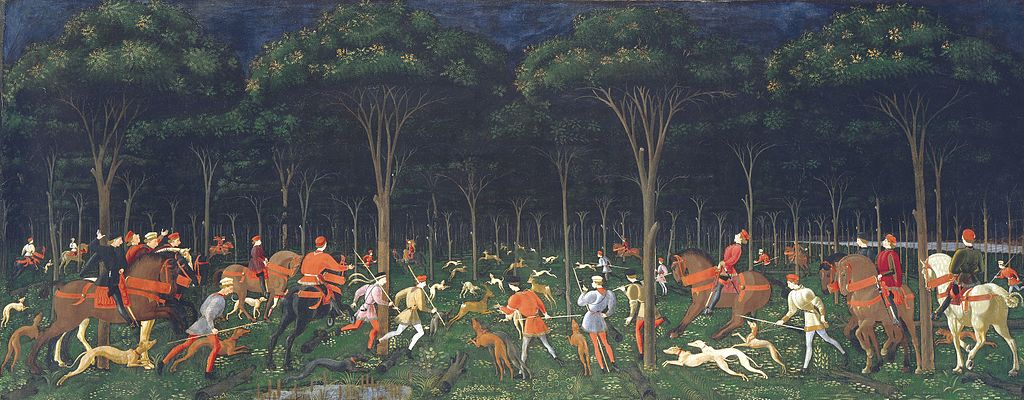 The Hunt in the Forest,cr. 1470, Paolo Uccello, Florence, Italy