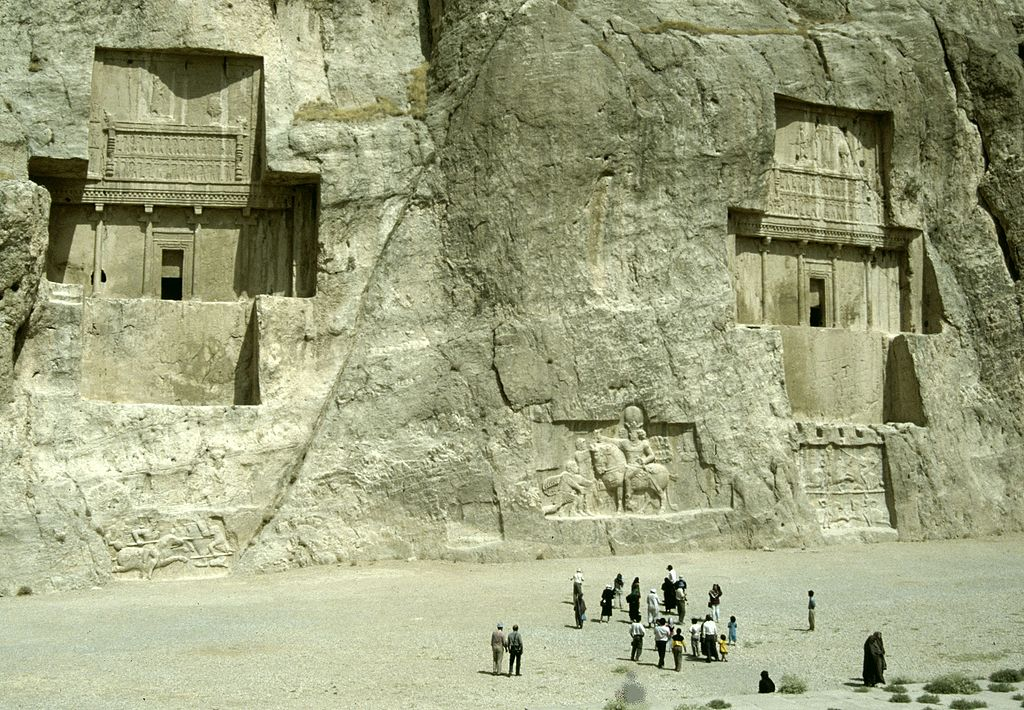 Necropolis of Naqsh-e Rostam, with two Achaemenid tombs and three Sasanian reliefs, 5th century BC and cr. 276–293, Achaemenid and Sasanian, Naqsh-e Rostam, Persia