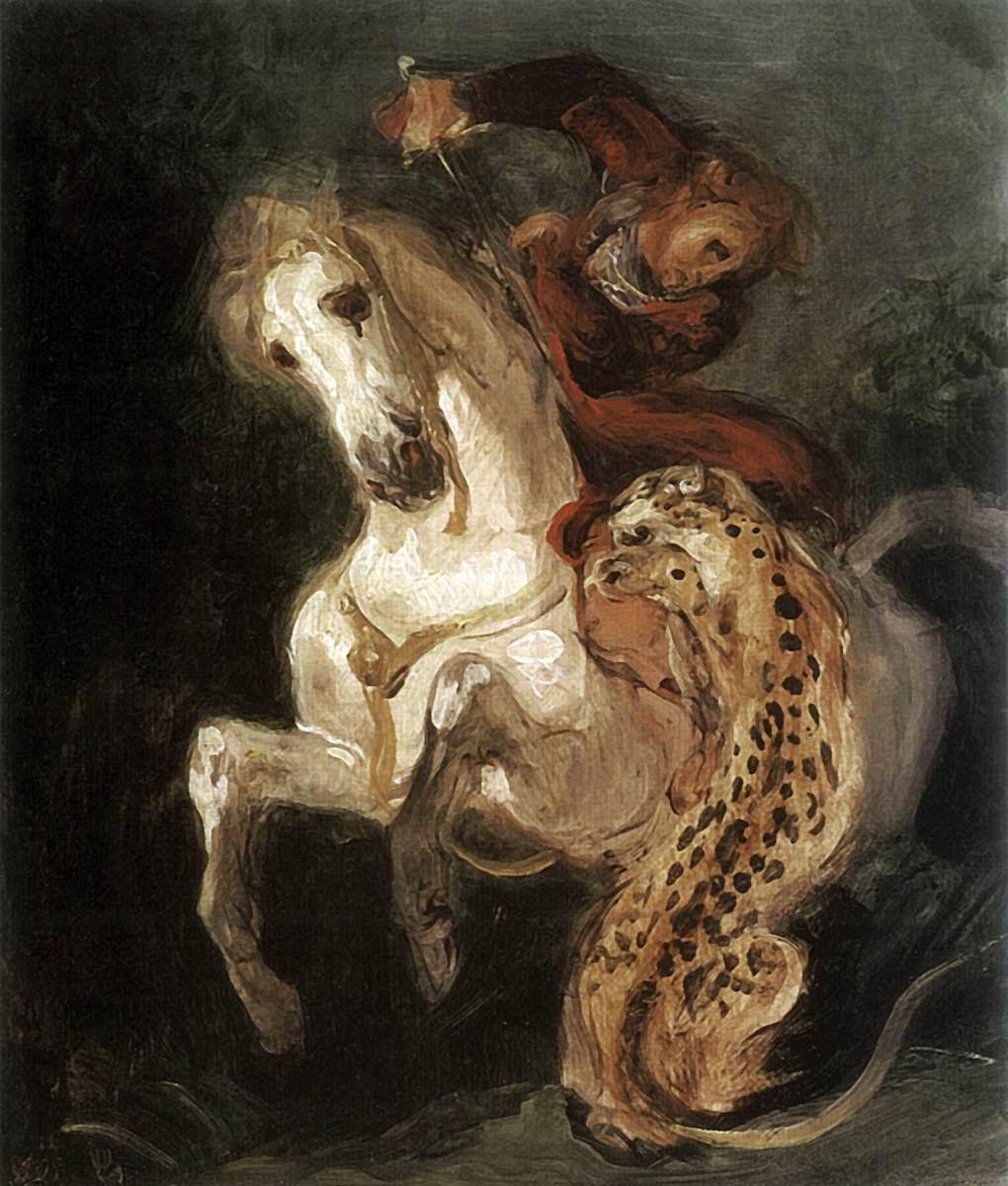 Jaguar Attacking a Horseman, cr. 1855, Delacroix Eugène, France