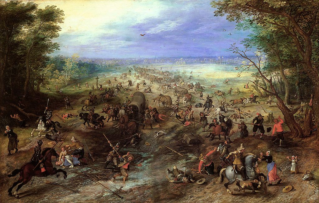 Assault on a Convoy, cr. 1612, Jan Brueghel the Elder and Sebastiaen Vrancx, Flemish