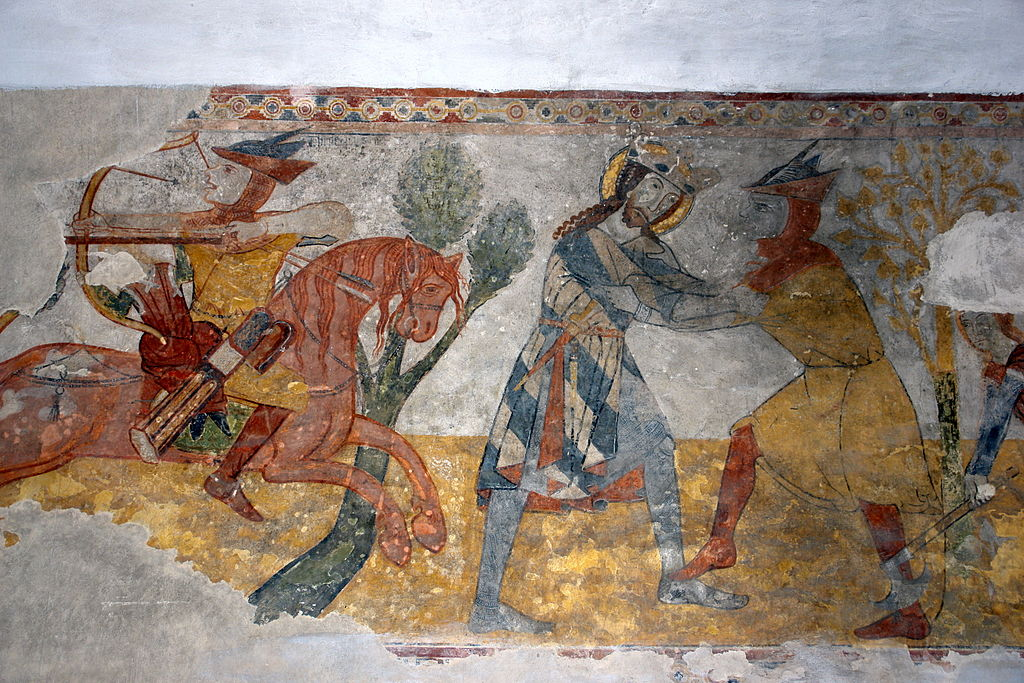 Saint Ladislaus legend, fresco, 14th century, Church of Saint Catherine of Alexandria, Veľká Lomnica, Slovakia