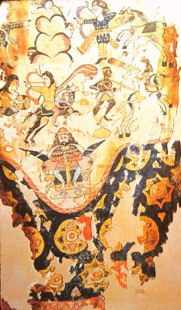 Egyptian woven pattern, copy of an imported Sassanid silk, which itself was based on a fresco of king Khosrau I fighting against the Ethiopian forces in Yemen, ?