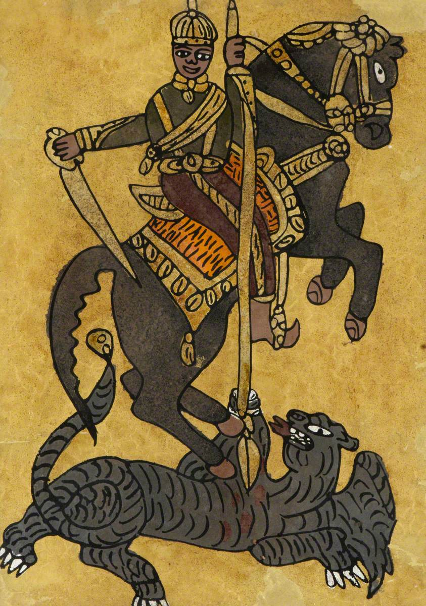 Ethiopian king (?) as Saint George spearing the dragon, ?, Ethiopia
