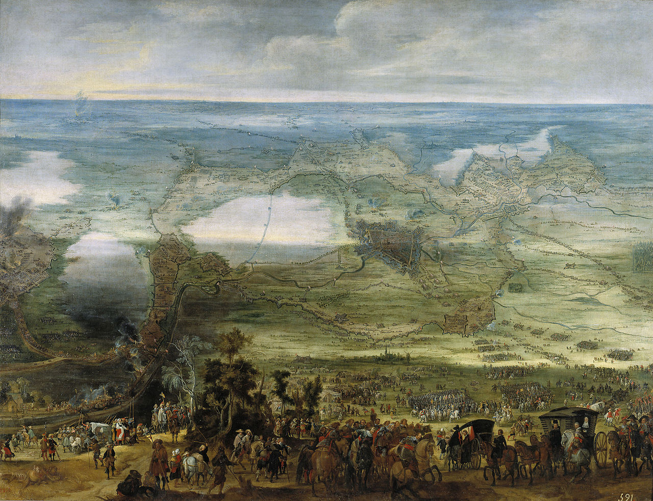 Isabel Clara Eugenia on the Breda Site, cr. 1628, Peter Snayers, Flemish