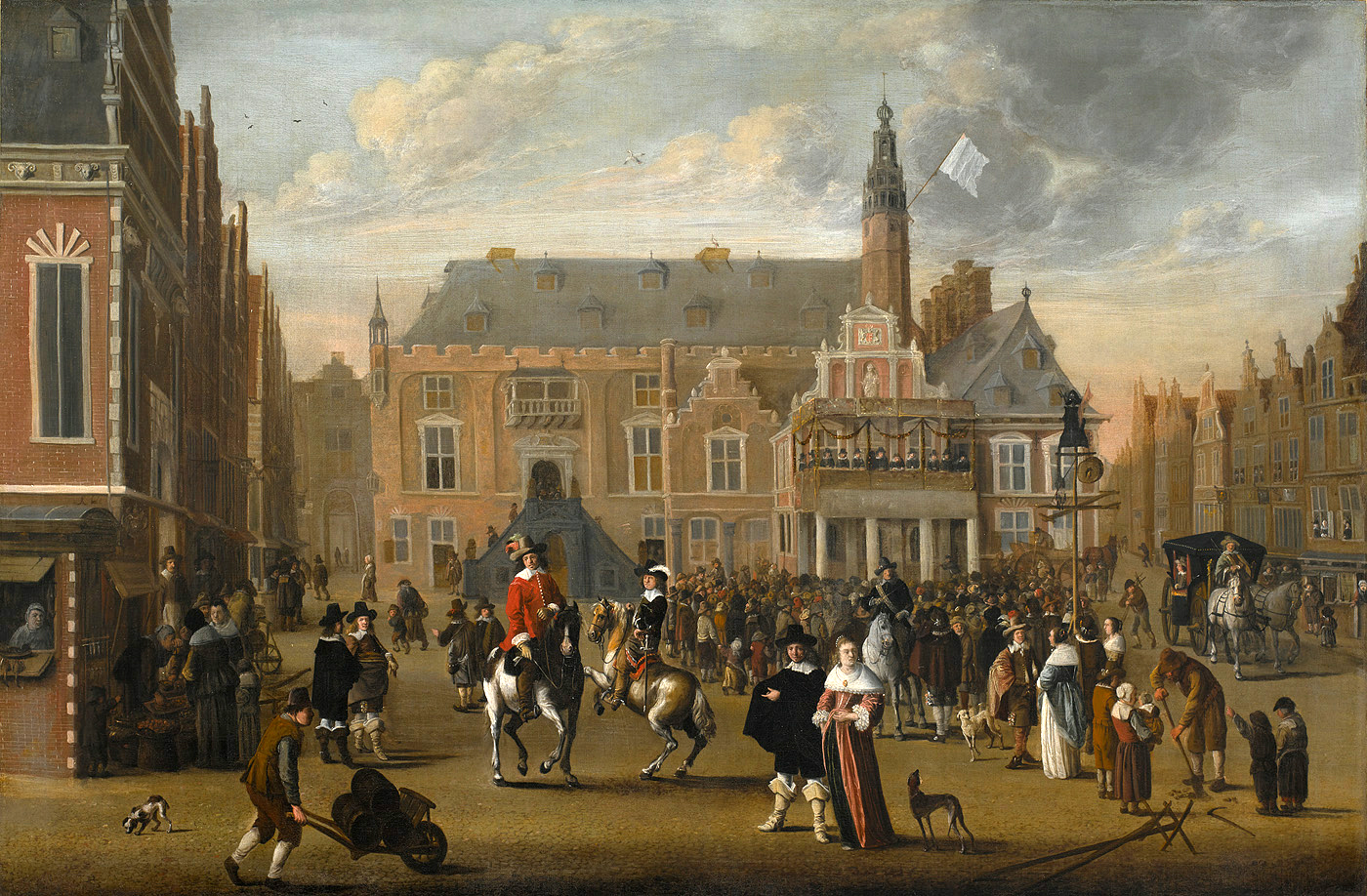 Marketplace in Harlem during the celebration of the Treaty of Münster, 1670-90, Cornelis Beelt, Dutch Republic