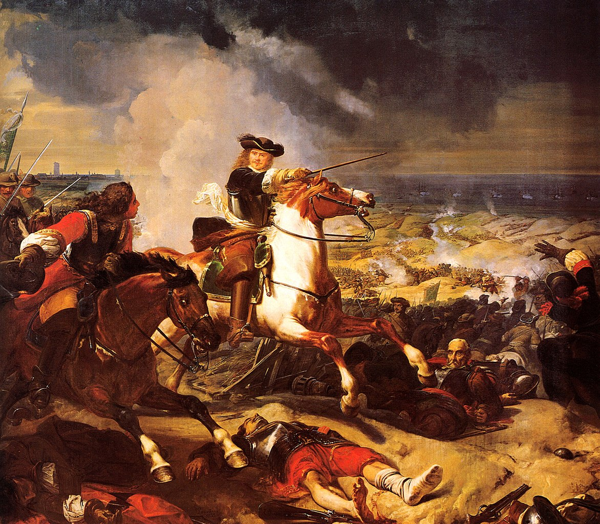 Battle of the Dunes at the siege of Dunkirk (1658), 1837, Charles-Philippe Larivière, Galerie des Batailles, Versailles, France