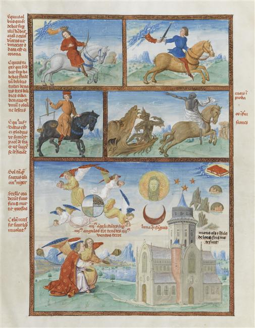 Four Horsemen of the Apocalypse, illustration of Liber Floridus par Lambert de Saint-Omer, 15th century, Jean Mansel, France