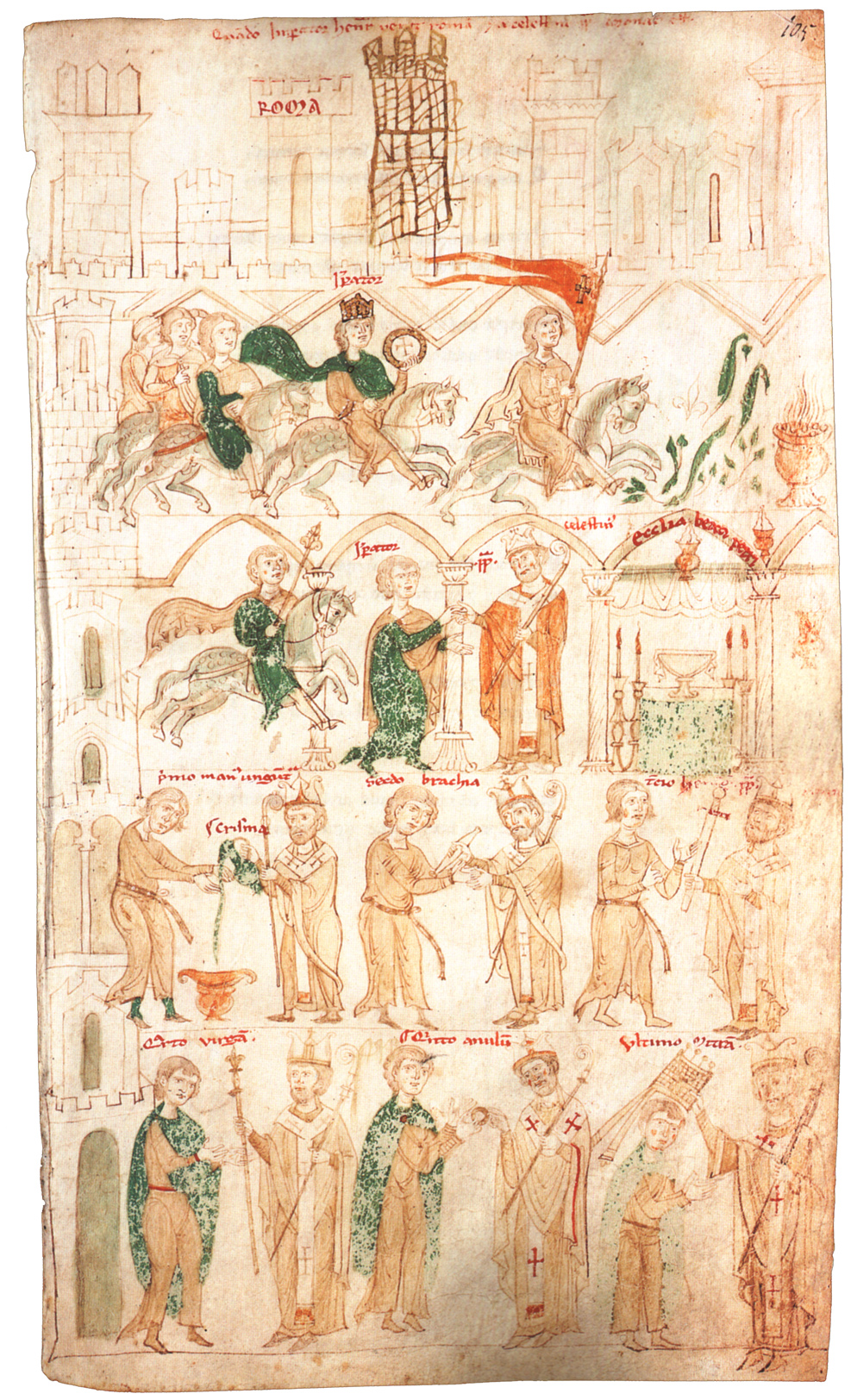 The enthronement of emperor Henry VI, illustration of 'Liber ad honorem Augusti' by Peter of Eboli, 1196, Palermo, Sicily