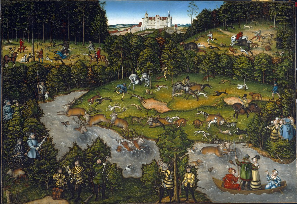 Hunting near Hartenfels Castle, 1540, Lucas Cranach the Elder, Germany