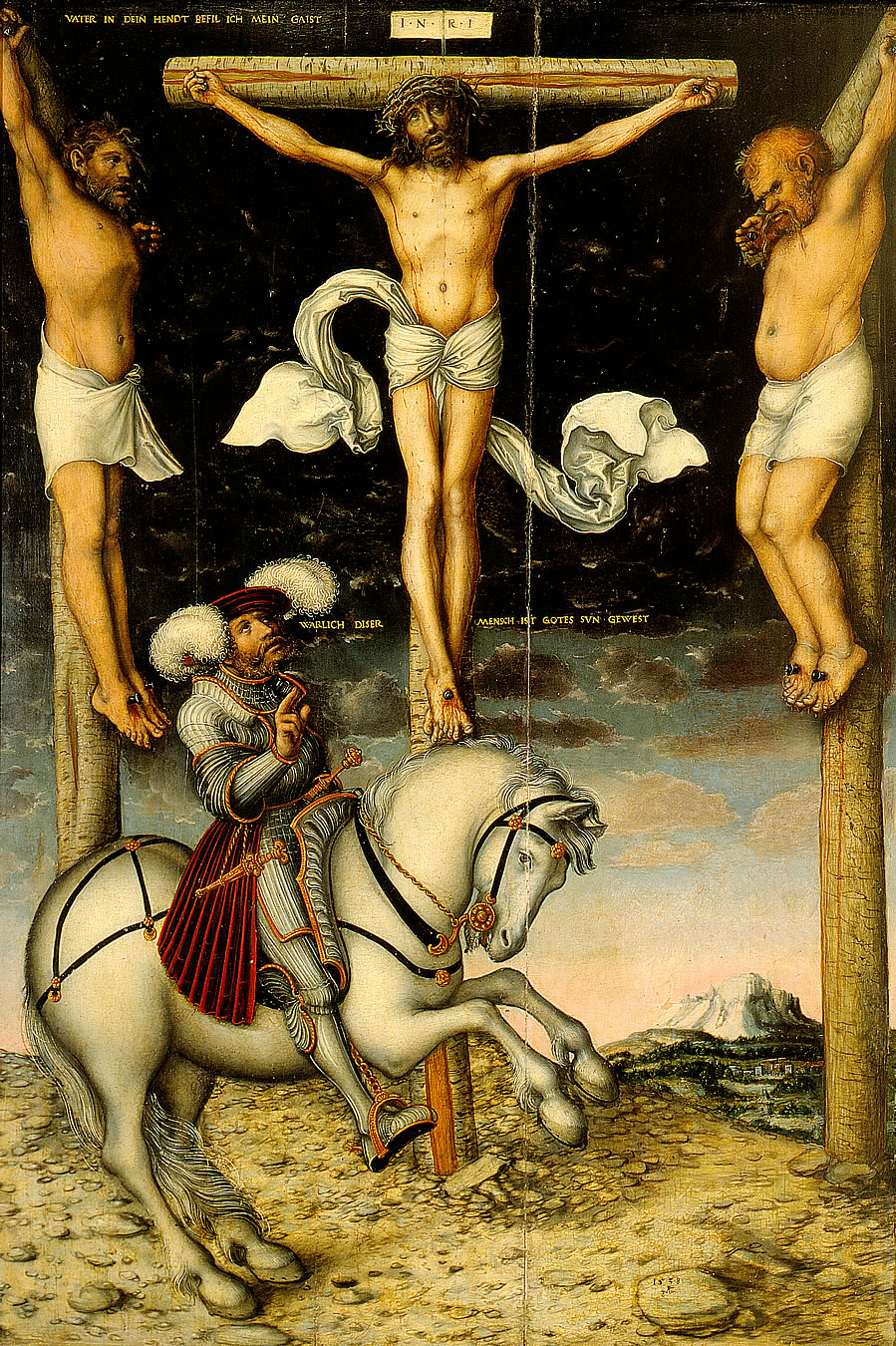 The Crucifixion with the Converted Centurion, 1538, Lucas Cranach the Elder, Germany
