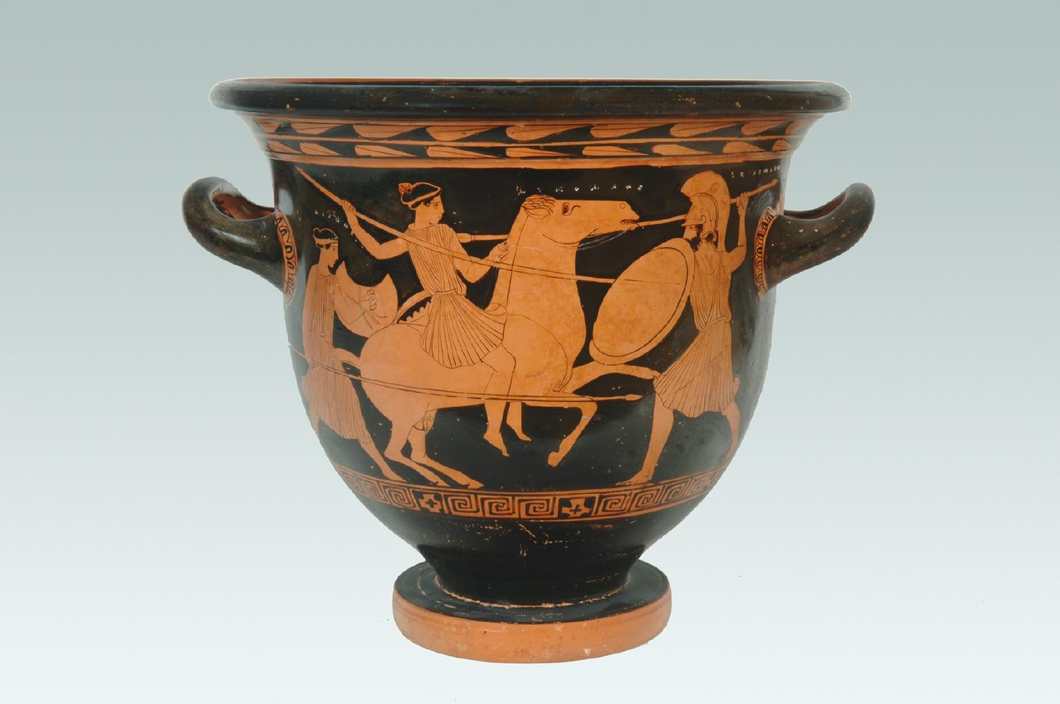 Bell-krater showing a battle of two Amazons and one Greek,cr. 440 BC, Attica