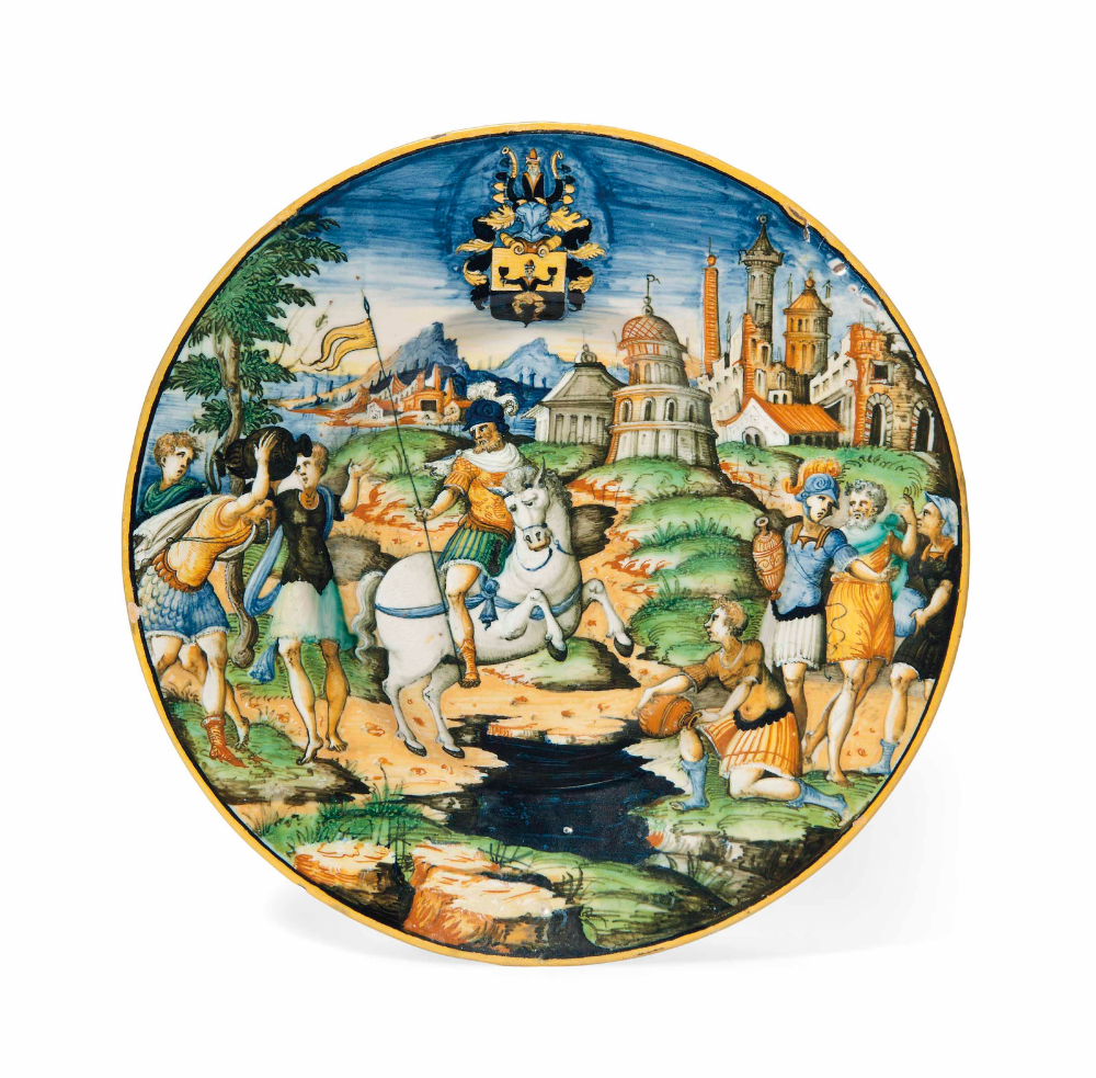 A maiolica plate from the Scheuffelin service showing the sacrifice of Marcus Curtius, cr. 1560, Urbino