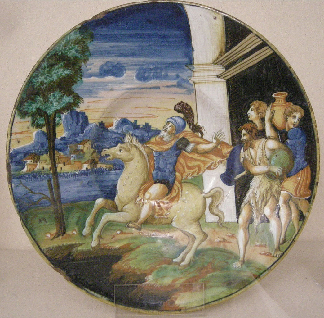 Maiolica plate showing Marcus Curtius leaping into the abyss, 1544, Urbino
