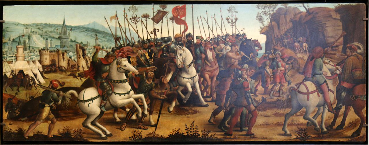 Cassone panel depicting the taking of Athens, cr. 1510, Italy
