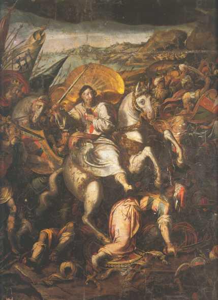 Apostle Santiago in the battle of Clavijo, end of the 16th century, Mateo Pérez de Alesio, Church of Saint James, Seville, Spain