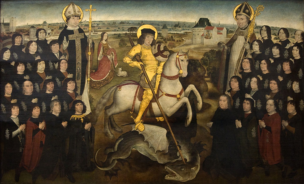 The Members of the Guild of the Grand Crossbow, with their patron Saint George and two saints, Saint Rombout and Saint Libertus, 1495-8, Mechelen, Belgium