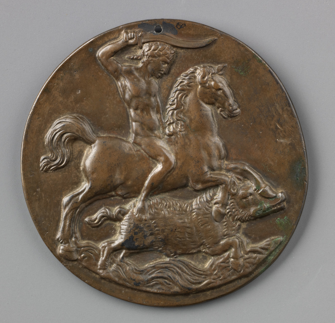 Plaquette depicting Meleager on horseback hunting the Calydonian Boar, 16th century, later cast, Pseudo-Melioli, Italy