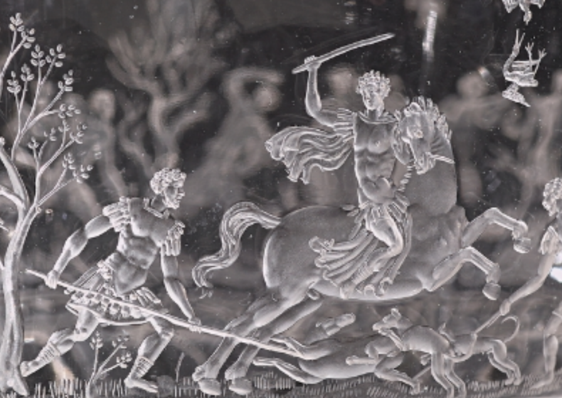 Vase with hunting scenes (detail showing Meleager), 1550-75, Francesco Tortorino, Milan, Italy