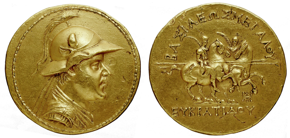 Gold 20-stater of Eucratides I, the largest gold coin ever minted in Antiquity (weight 169.2 grams, diameter of 58 millimetres), showing Dioscuri, cr. 171-145 BC, Bactrian (Hellenistic)