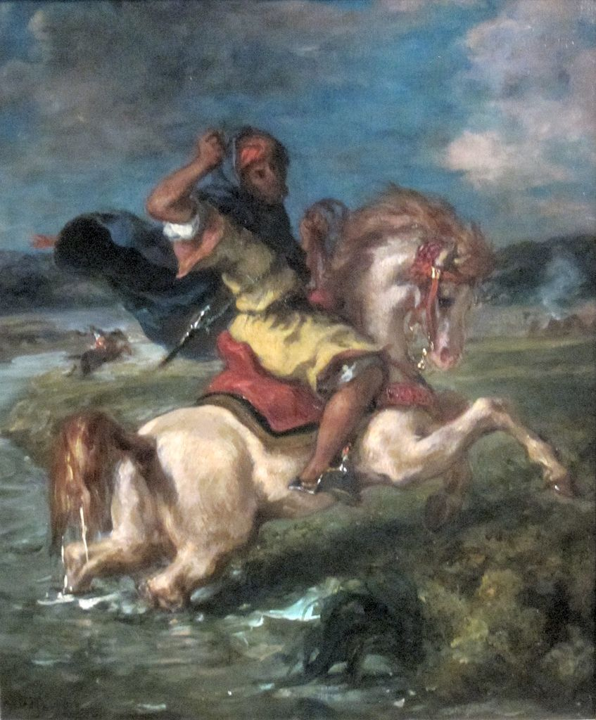 Moroccan Horseman Crossing a Ford, cr. 1850, Delacroix Eugène, France
