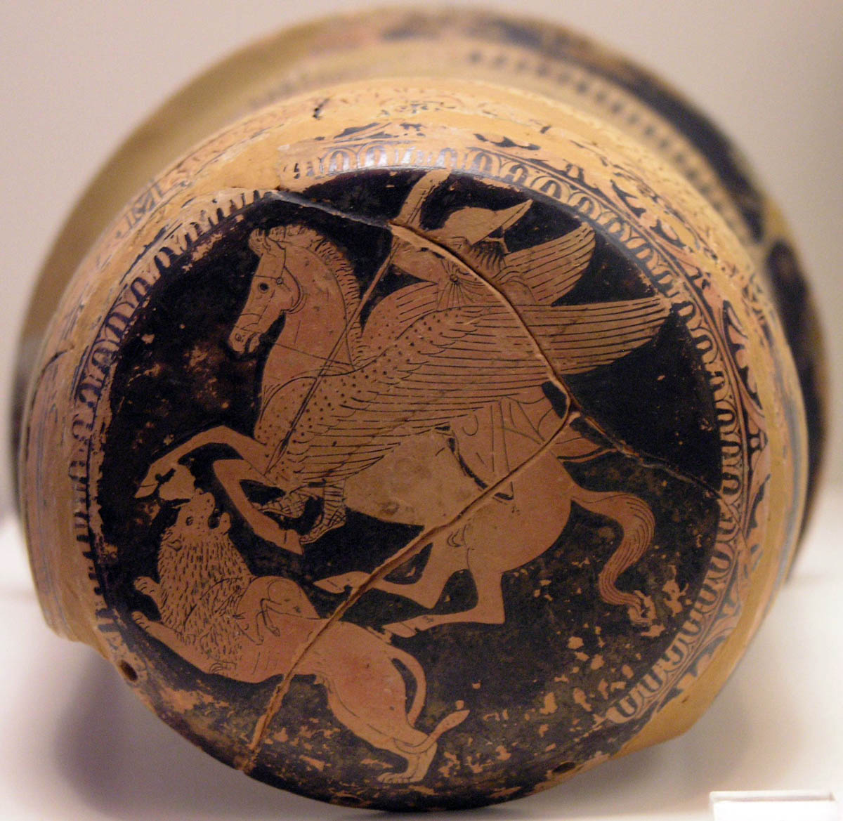 Bellerophon and the Chimera, edge of an epinetron (thigh-protector used by a woman when weaving), cr. 425-420 BC, Attic, Ancient Greece