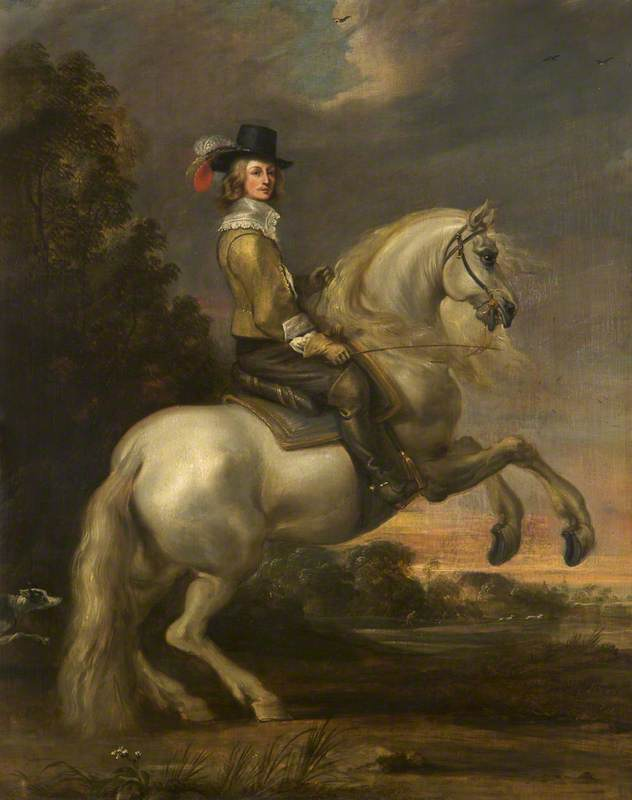 An equestrian portrait, before 1684, Gonzales Coques (style of)