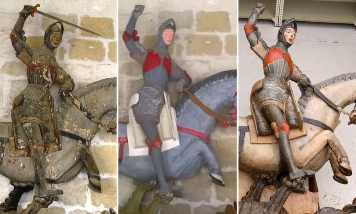 Statue of Saint George at the church of Estella, 16th-century, before 2018 restoration, after 2018 restoration and after 2019 restoration, Spain