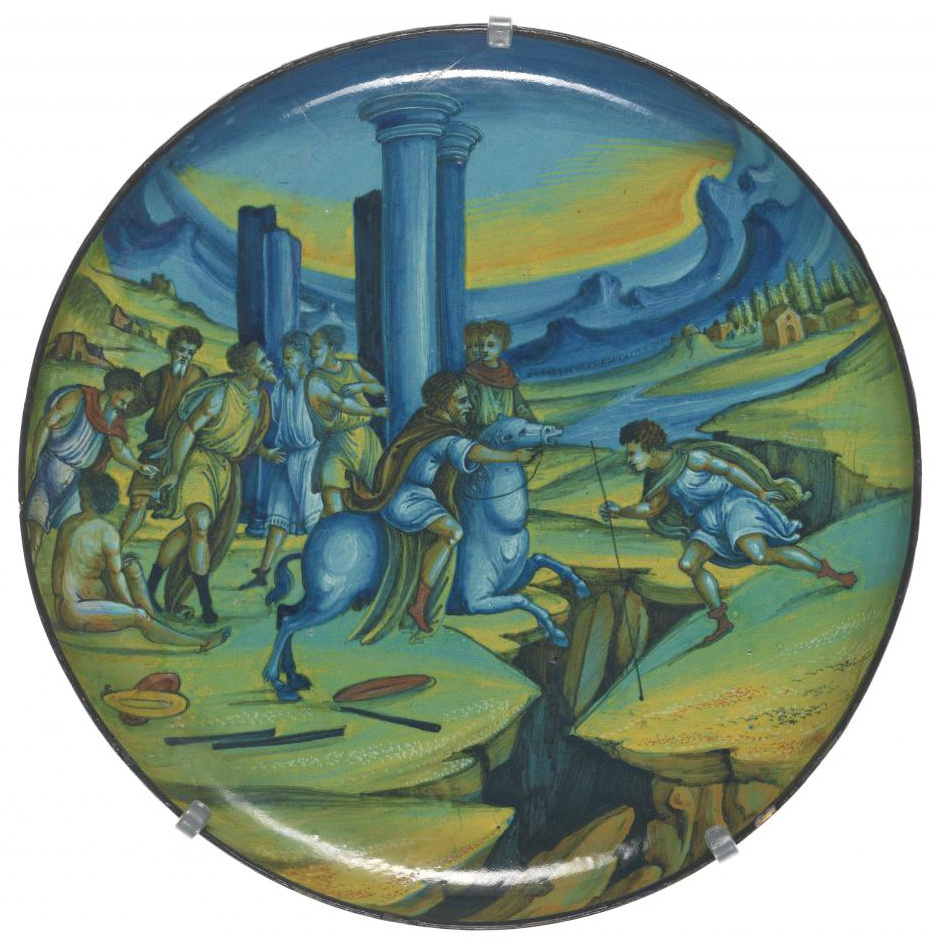 Maiolica plate showing Marcus Curtius leaping into the abyss, cr. 1525, Faenza