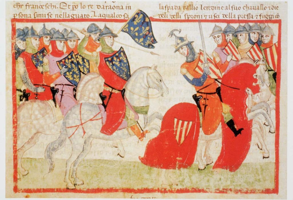 Nuova cronica illustration (Peter III of Aragon is wounded, 1285), mid 14th century, Pacino di Buonaguida, Florence, Italy