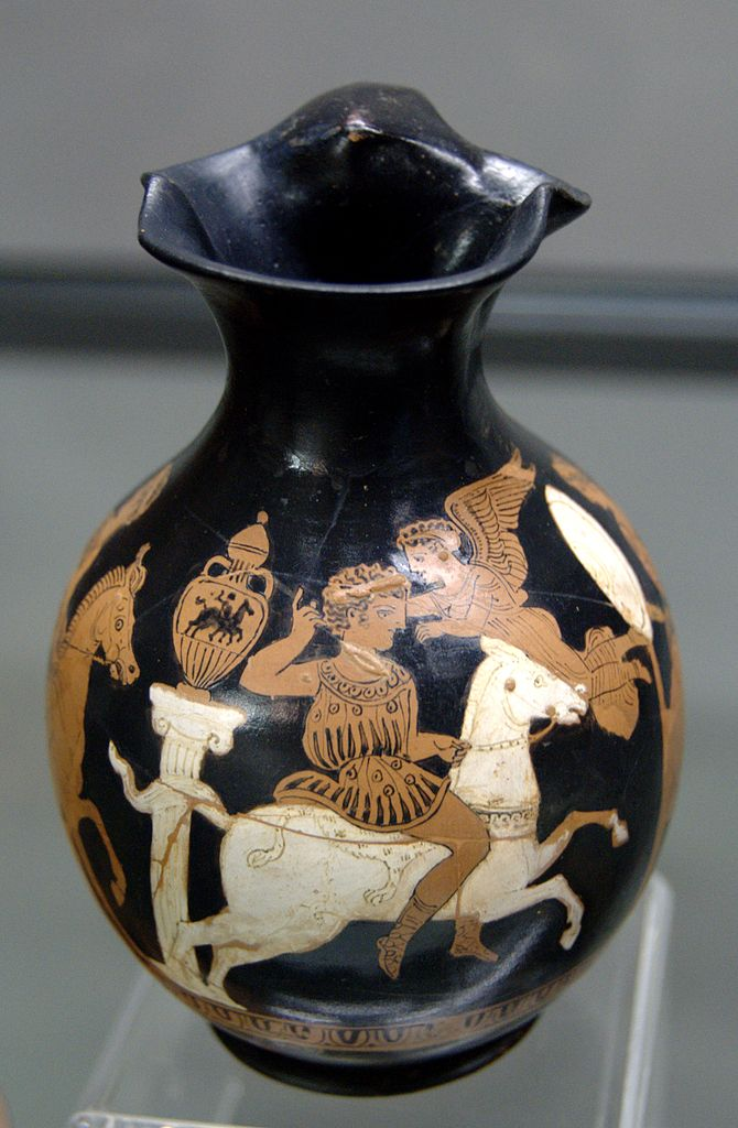 Oinochoe showing a horseman and an amphora showing a horseman, beginning of the 4th century BC, Attic