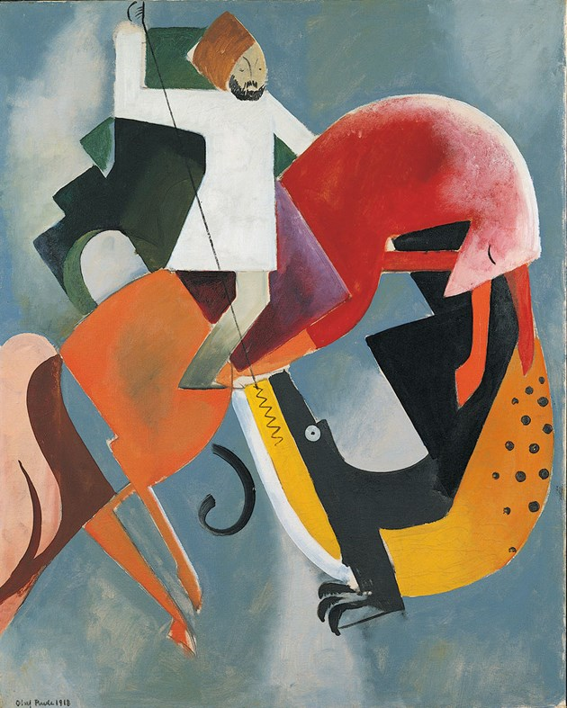 Saint George and the dragon, 1918, Olaf Rude, Denmark