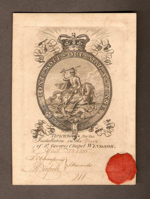 Order of the Garter Ticket, 1805, engraved by Ottway, 27 Barbican, London