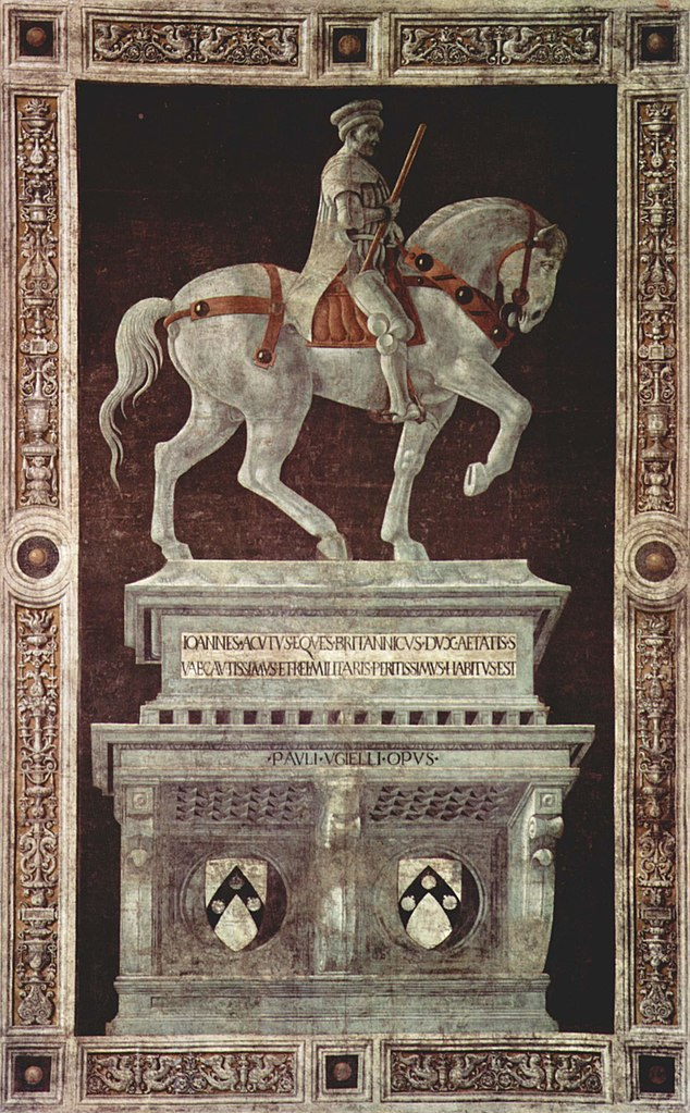 Painted Equestrian statue of Sir John Hawkwood (fresco), 1436, Paolo Uccello, Florence Cathedral, Italy