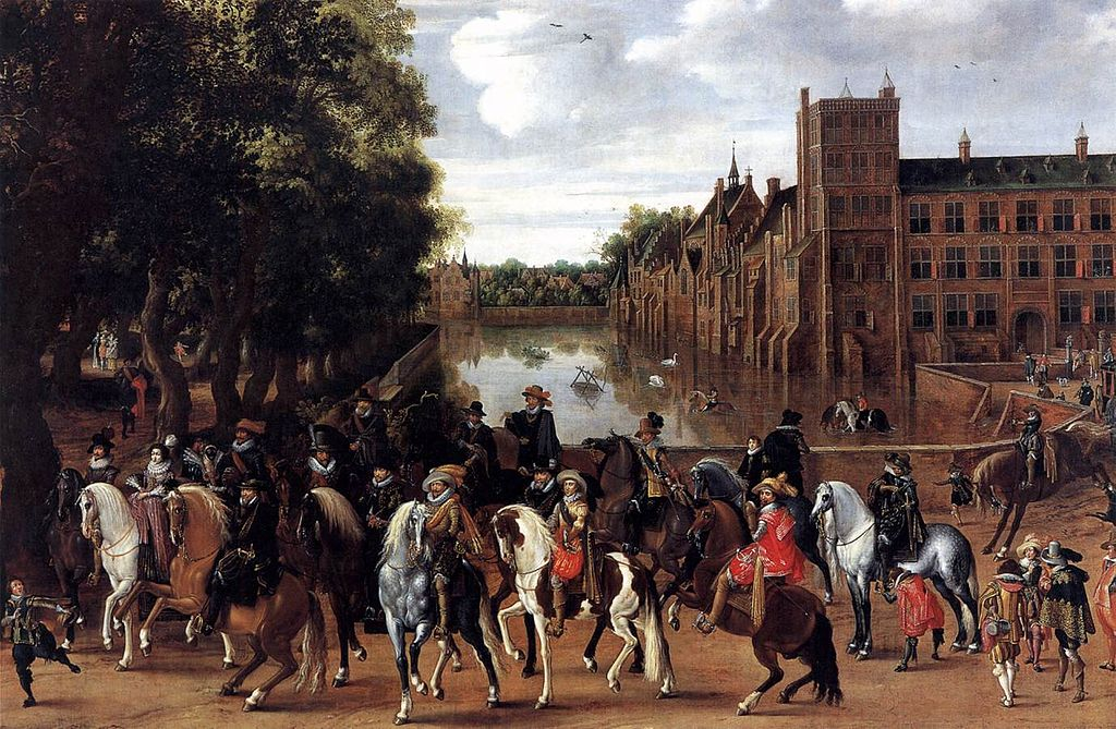 The Princes of Orange and their Families on Horseback, Riding Out from The Buitenhof, The Hague, 1621-2, Pauwels van Hillegaert, Dutch