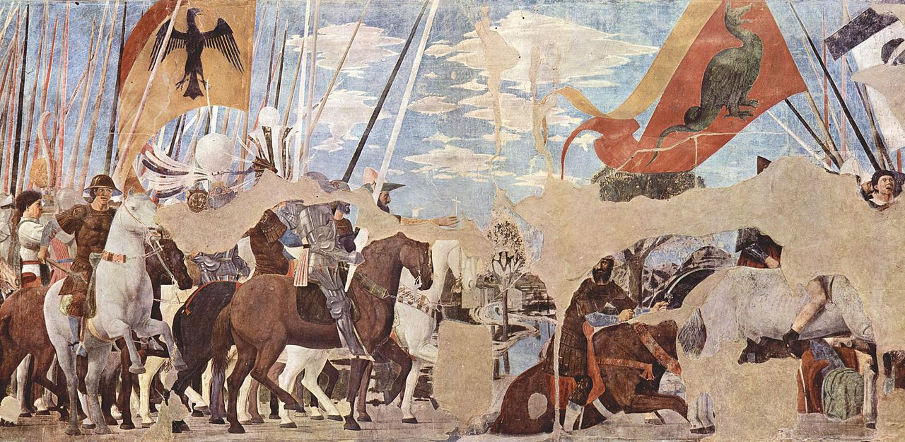 The Battle of Milvian Bridge (between the Roman Emperors Constantine I and Maxentius, in 312), cr. 1452-66, Piero della Francesca, Arezzo, Italy