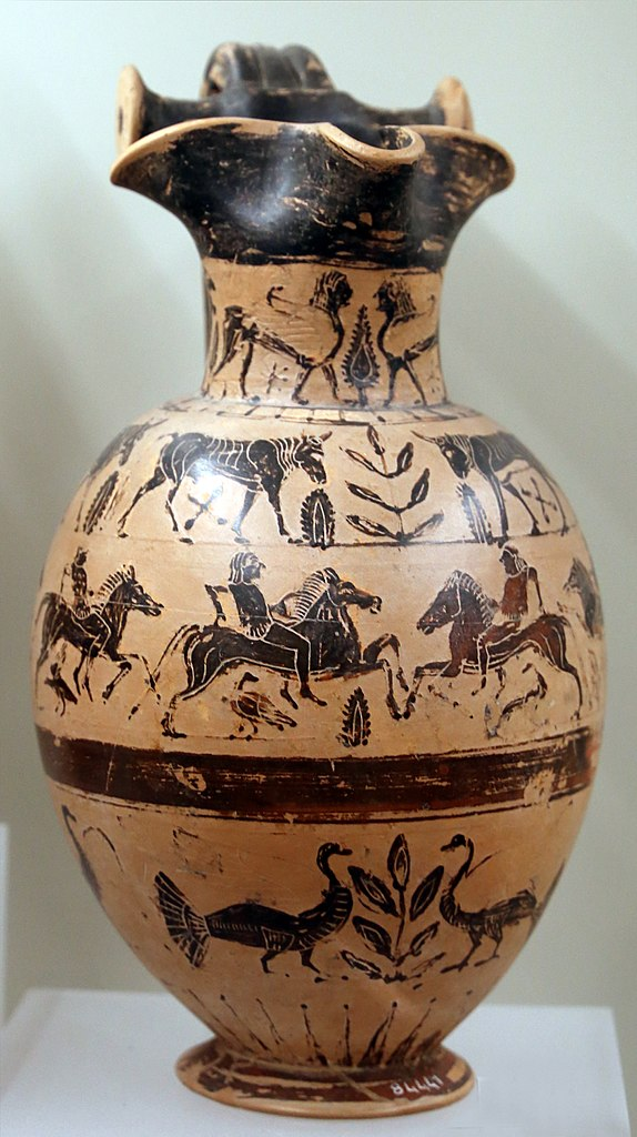 Oinochoe showing galloping cavalrymen, 540-510 BC, Etruria