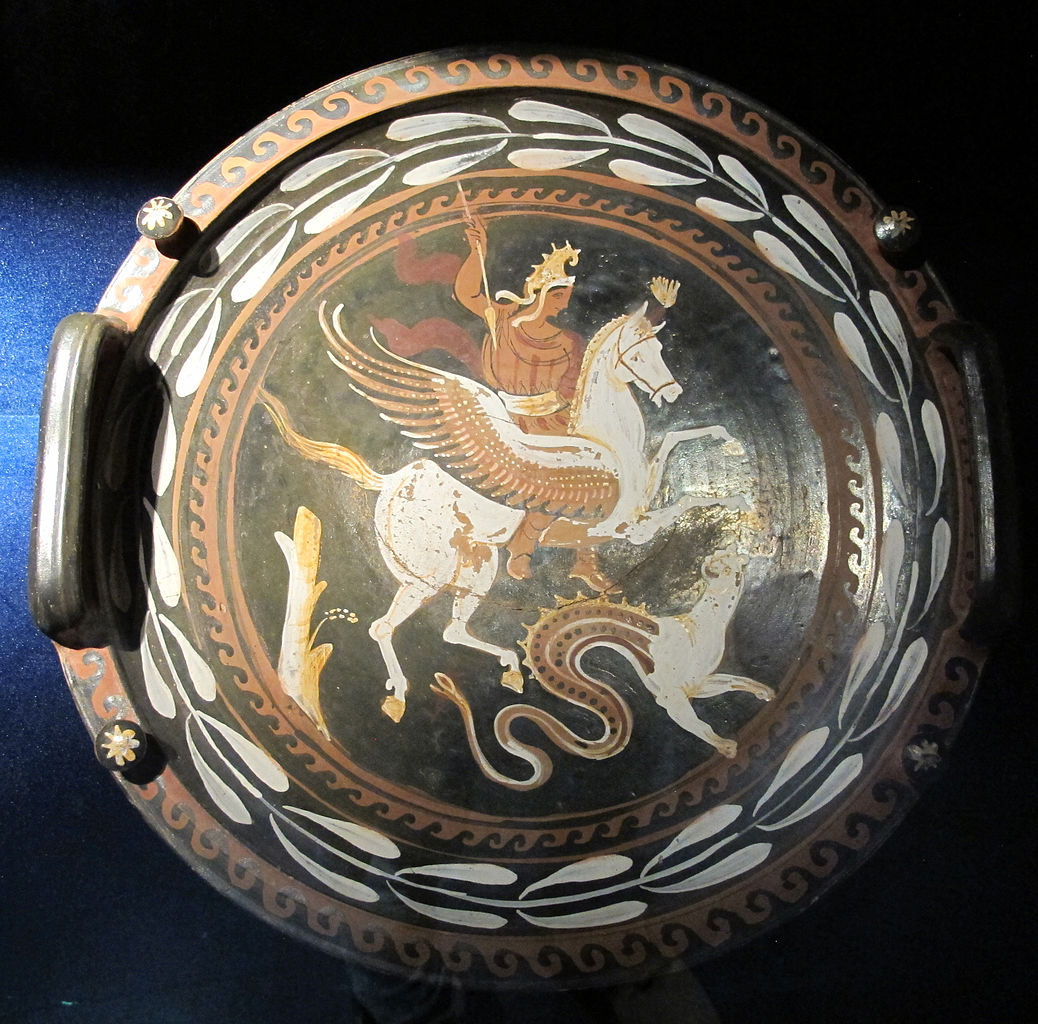 Plate with Bellerophon and Pegasus, cr. 350-300 BC, Apulia, Italy (Greek culture)