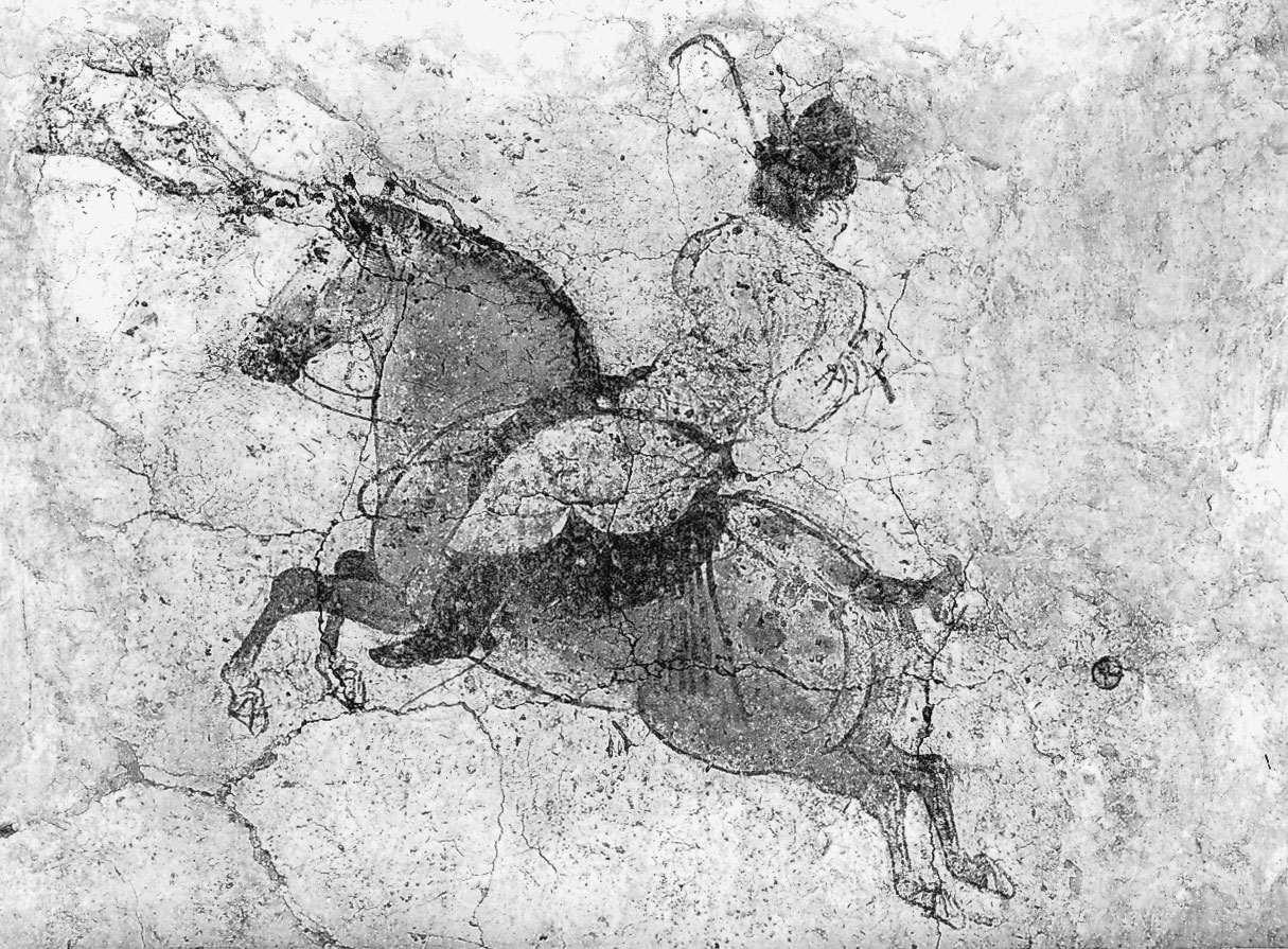 COMPARANDUM: Polo player, detail of a mural from the tomb of Li Xian (the crown prince Zhanghuai), 706, near Xianyang, Shaanxi province, China