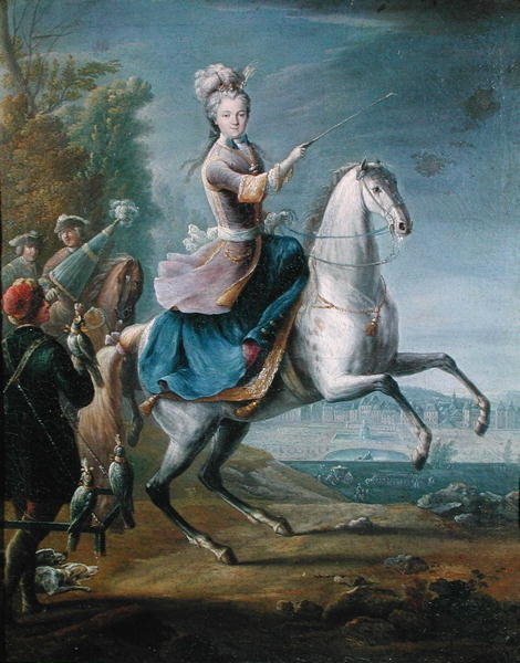 Portrait of Marie Leczinska in front of the palace of Fontainebleau,1725, Jean-Baptiste Martin