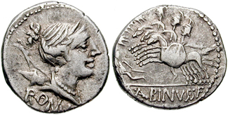 Postumia denarius showing three horsemen over fallen warrior on reverse, minted in 96 BC, Roman Republic