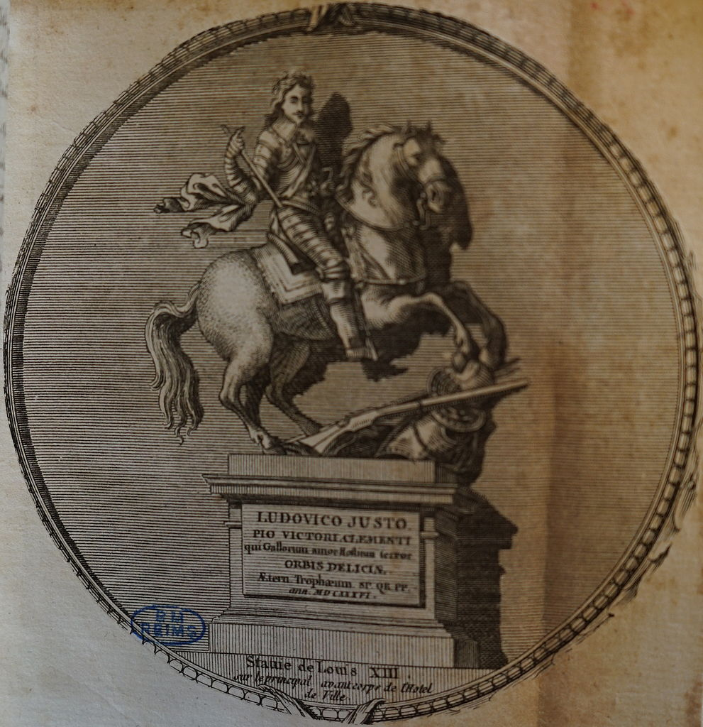 Engraving of a bronze statue of Louis XIII on horseback, 1636, Nicolas Jacques, engraving made in 1765. The original bronze statue was destroyed at the Revolution (1792)
