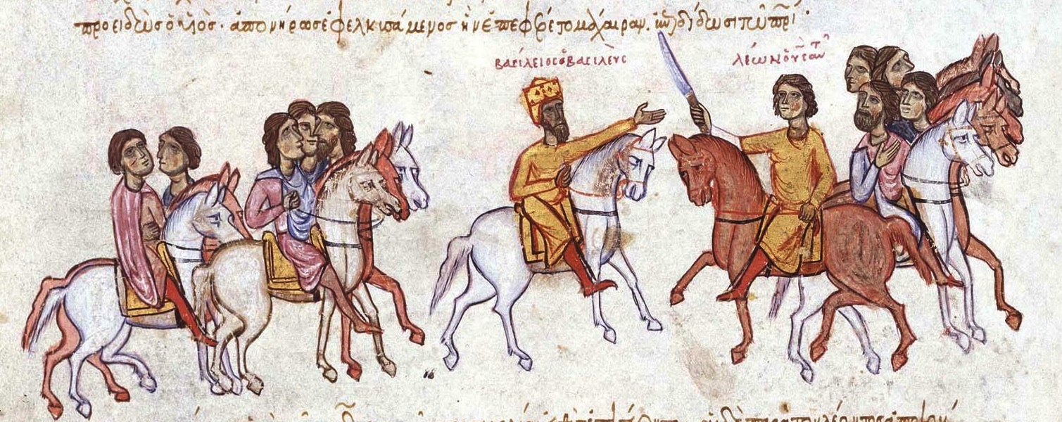 The future Leo VI the Wise offers a knife to his father, Emperor Basil I the Macedonian, 11th-13th centuries, illustration of Madrid Skylitzes, Sicily, Italy